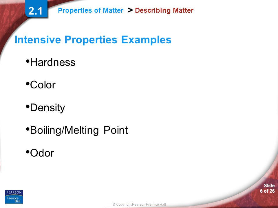 Intensive Properties Examples Hardness Color Density