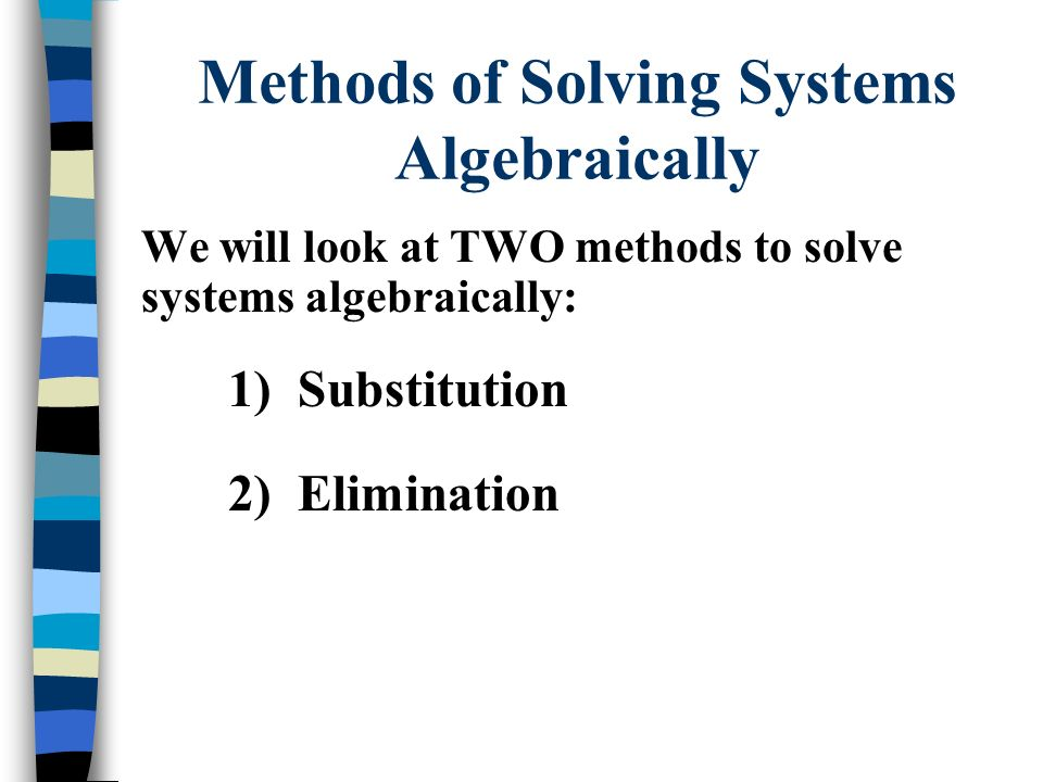 Methods of Solving Systems Algebraically