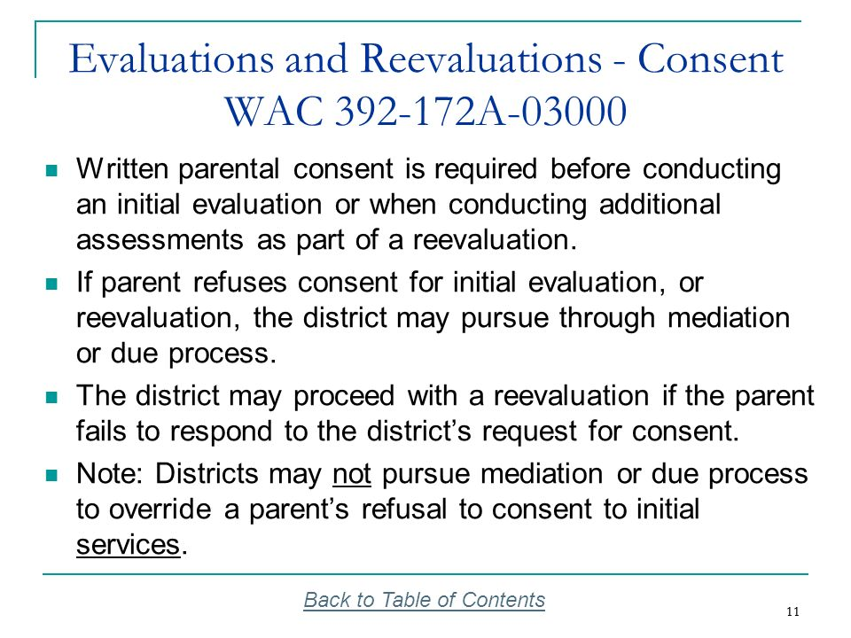 Evaluations and Reevaluations - Consent WAC 392-172A-03000