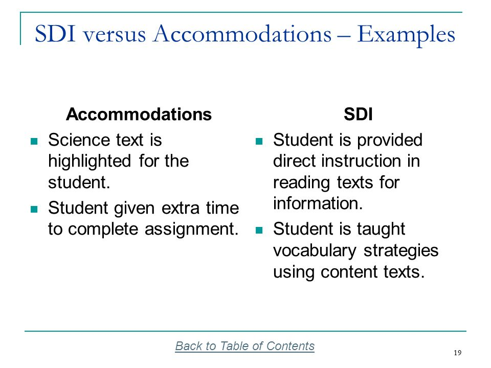 SDI versus Accommodations – Examples