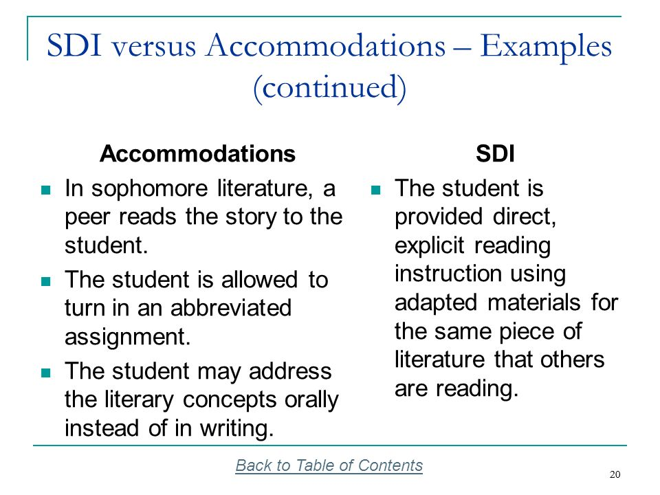 SDI versus Accommodations – Examples (continued)
