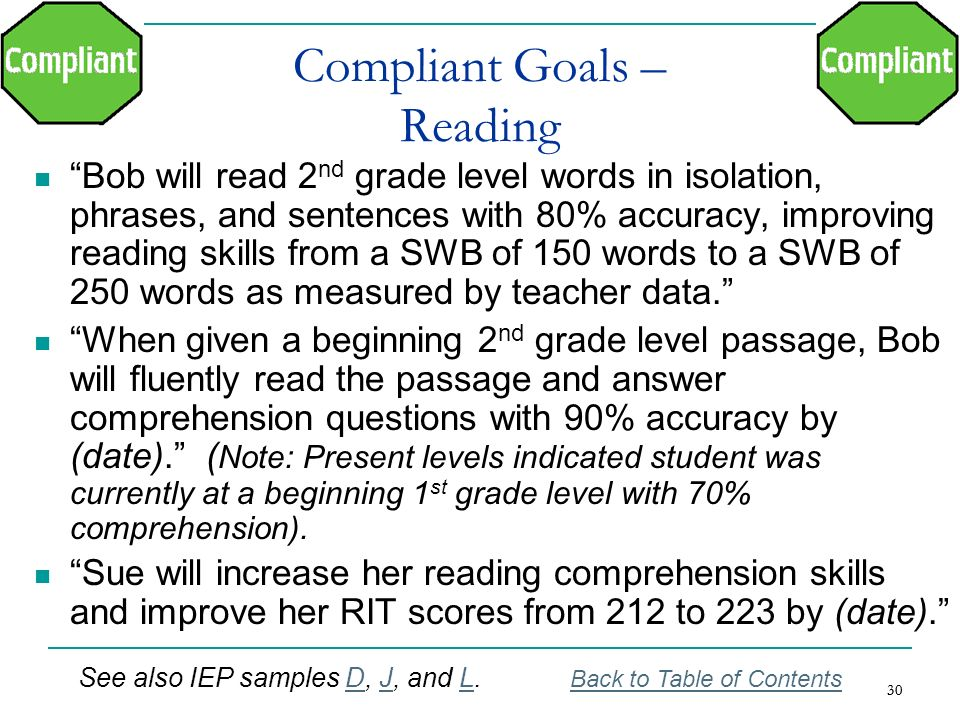 Compliant Goals – Reading