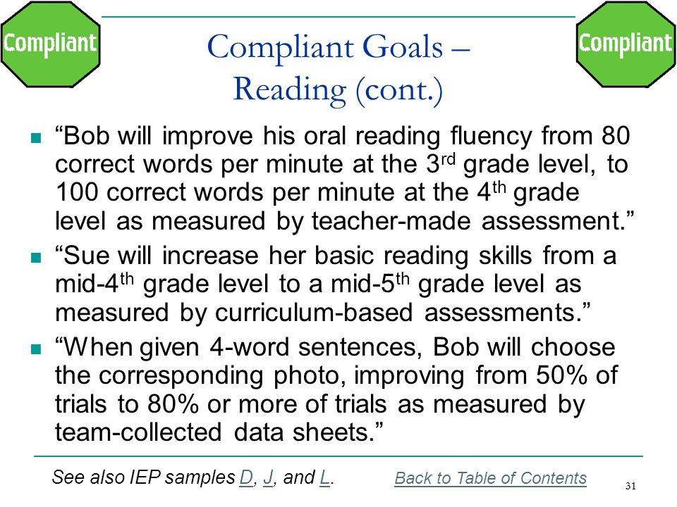 Compliant Goals – Reading (cont.)