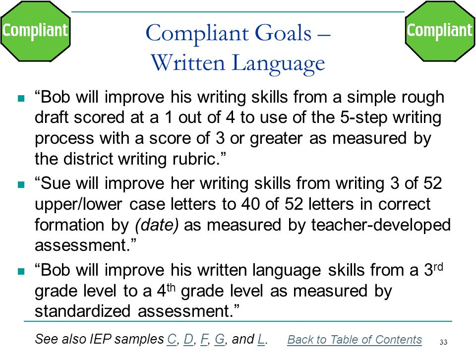 Compliant Goals – Written Language