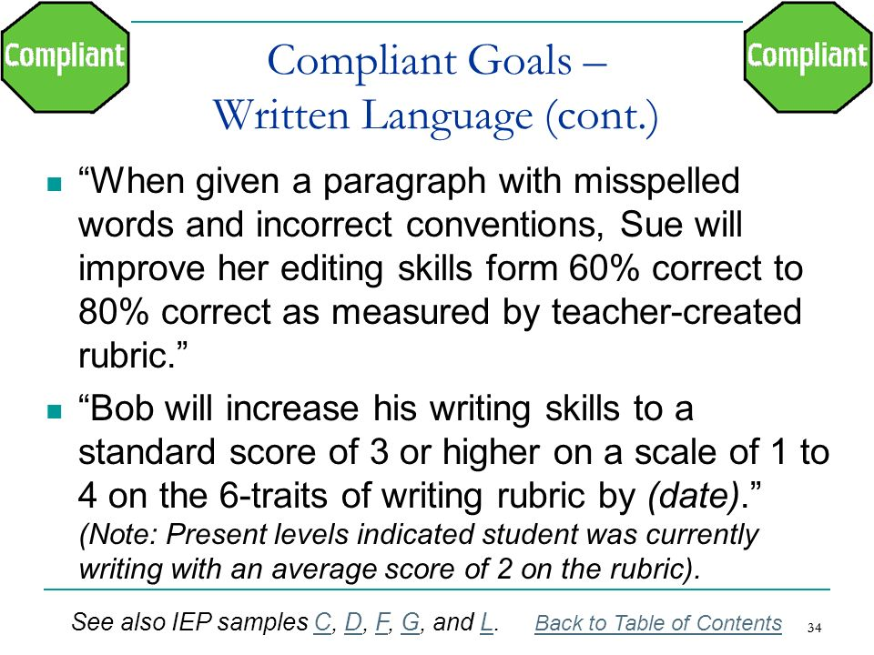Compliant Goals – Written Language (cont.)