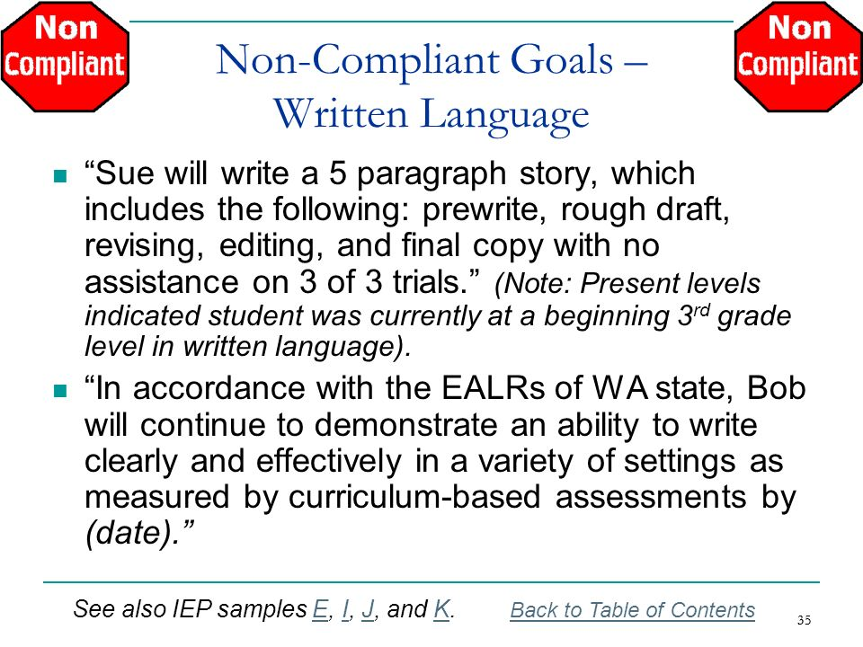 Non-Compliant Goals – Written Language