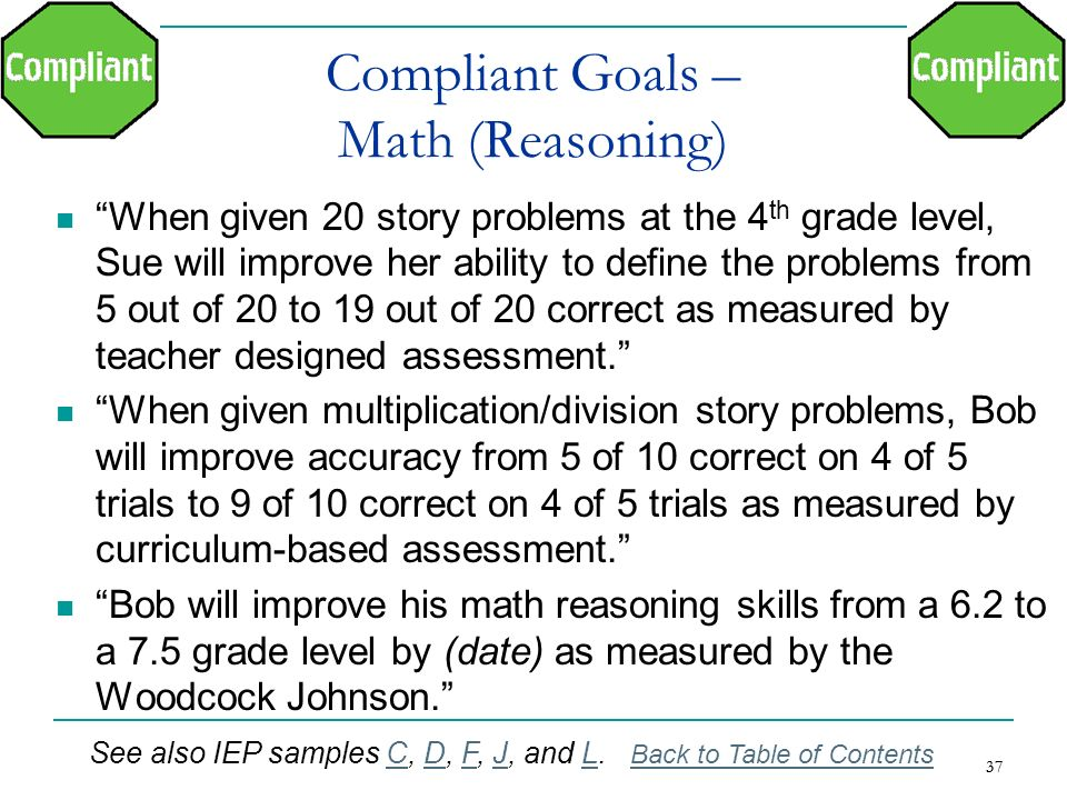Compliant Goals – Math (Reasoning)