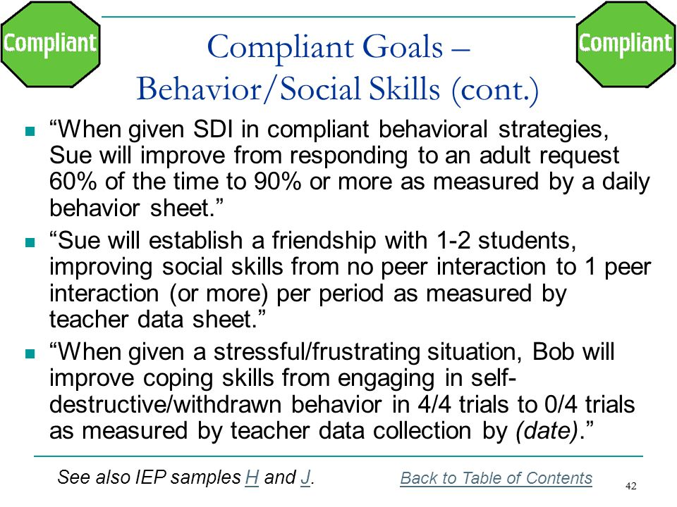 Compliant Goals – Behavior/Social Skills (cont.)