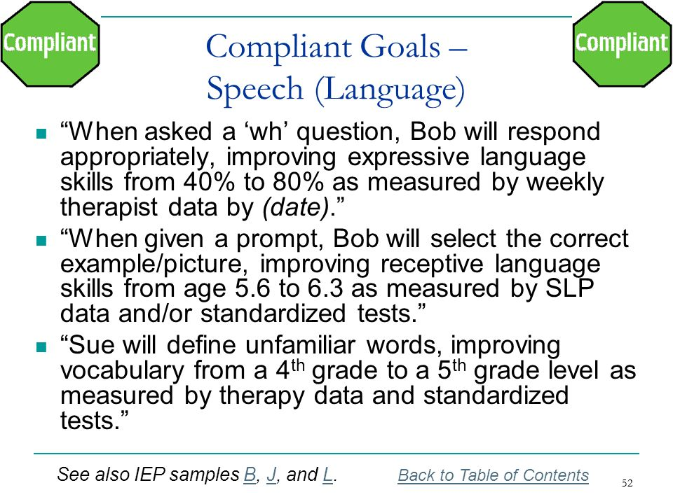 Compliant Goals – Speech (Language)
