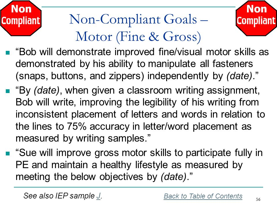 Non-Compliant Goals – Motor (Fine & Gross)