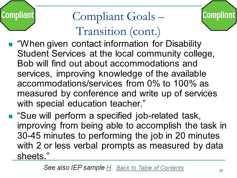 Compliant Goals – Transition (cont.)