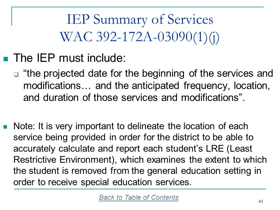IEP Summary of Services WAC 392-172A-03090(1)(j)