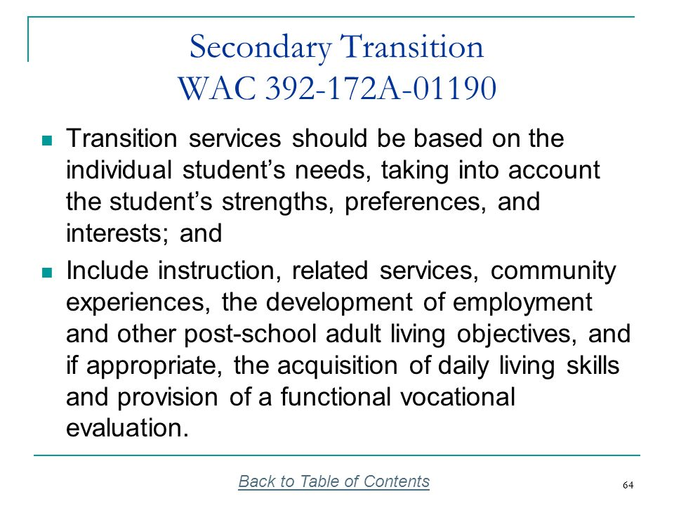 Secondary Transition WAC 392-172A-01190