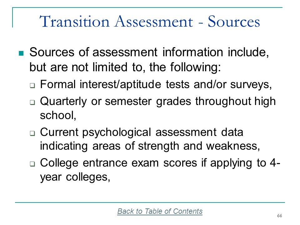 Transition Assessment - Sources