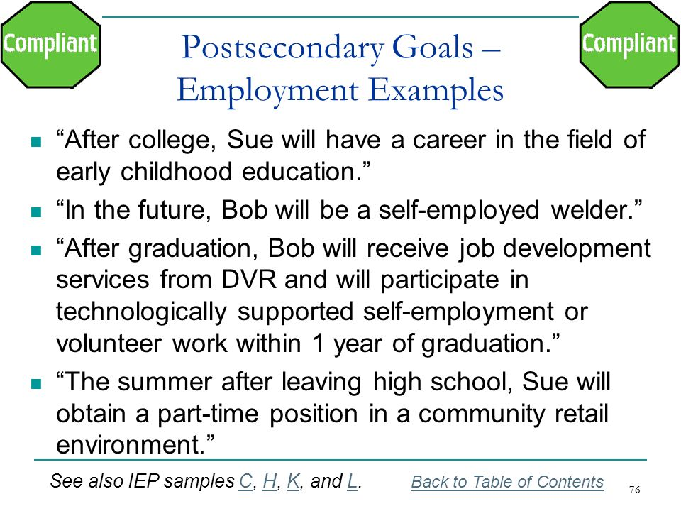 Postsecondary Goals – Employment Examples