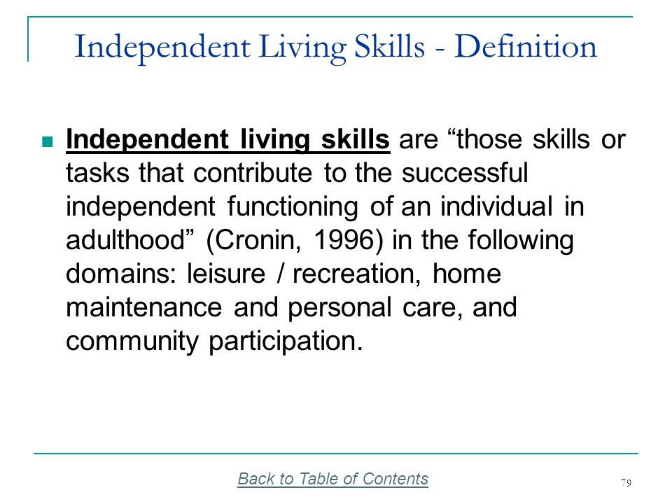 Independent Living Skills - Definition
