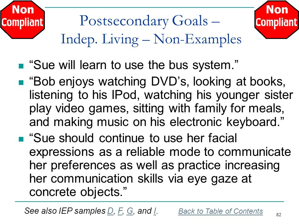 Postsecondary Goals – Indep. Living – Non-Examples