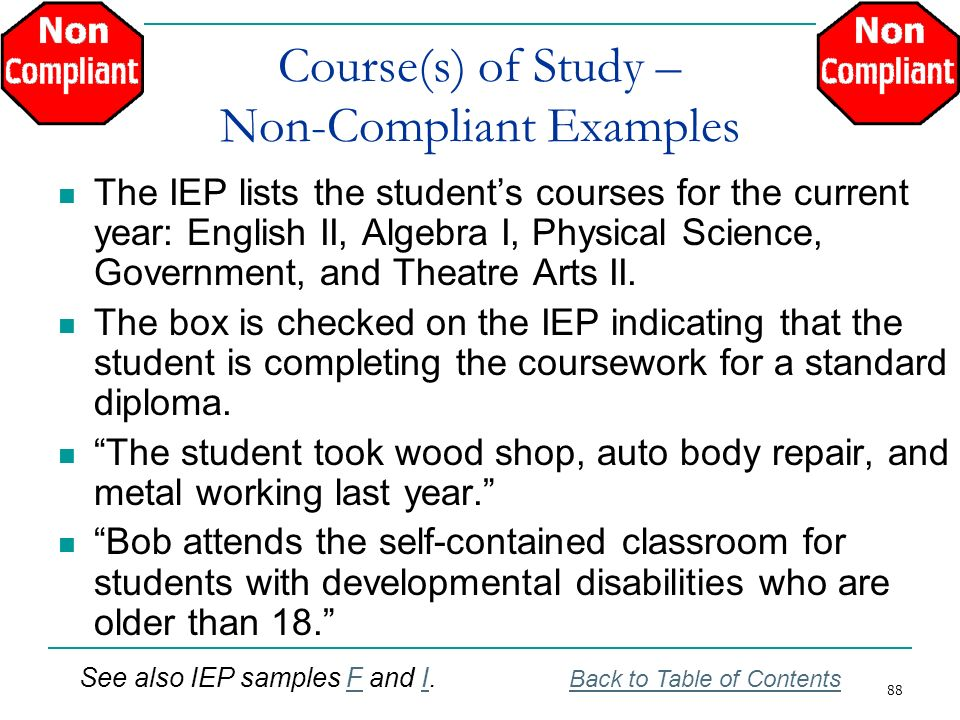 Course(s) of Study – Non-Compliant Examples