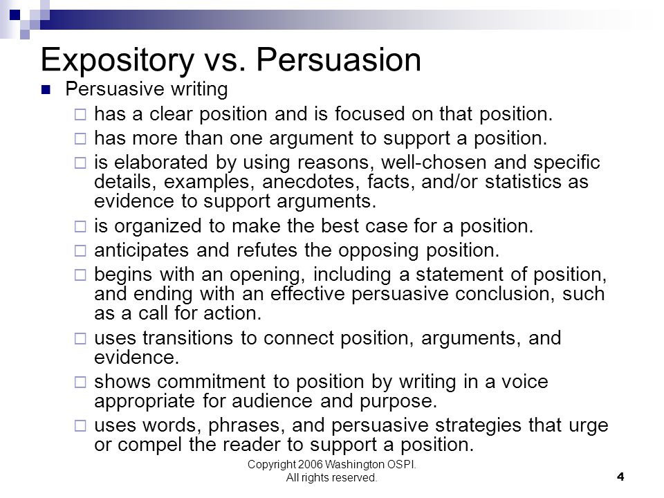 Expository vs. Persuasion