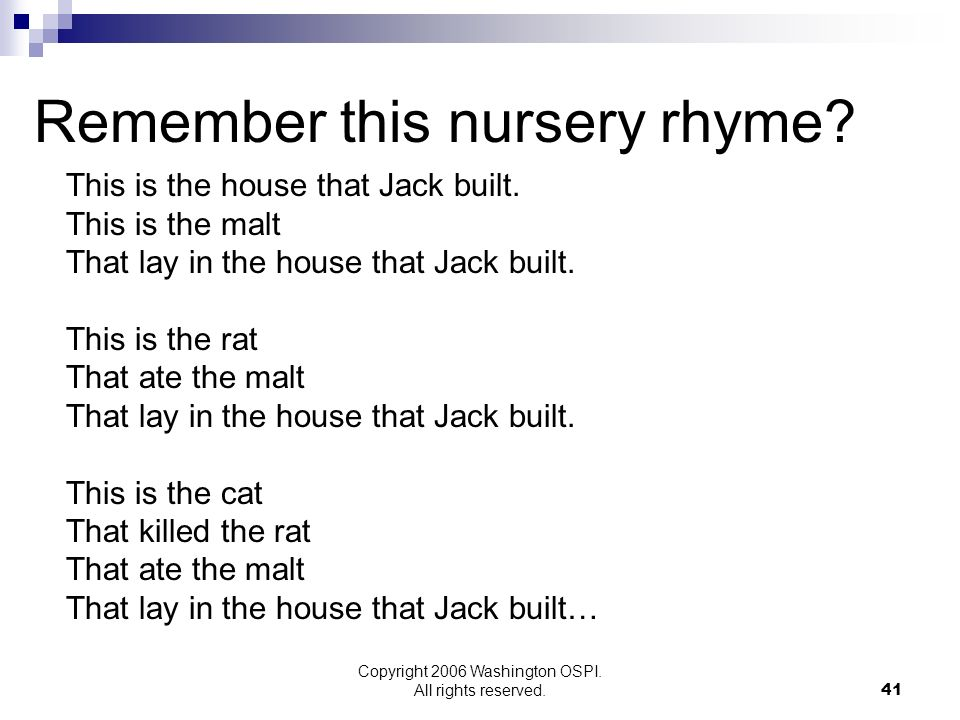 Remember this nursery rhyme
