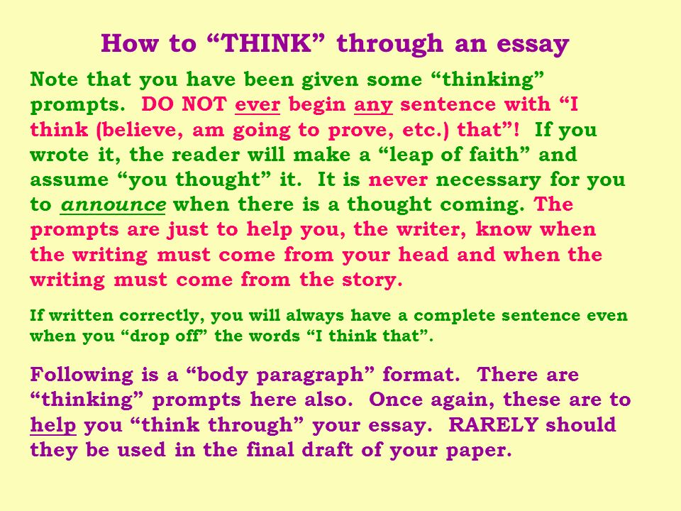 How to THINK through an essay