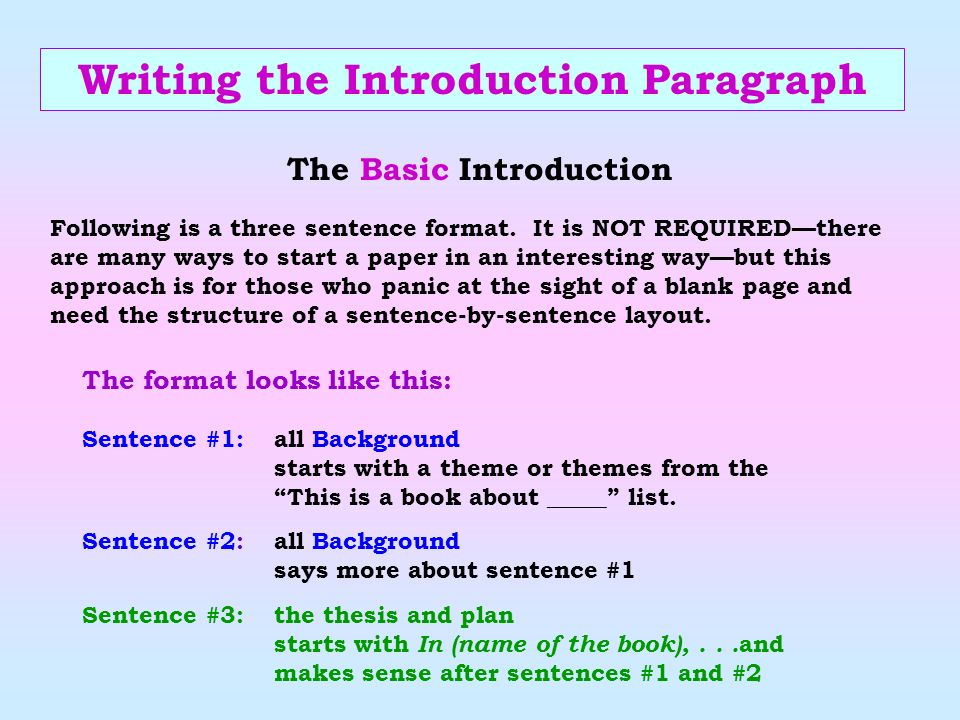 Writing the Introduction Paragraph The Basic Introduction
