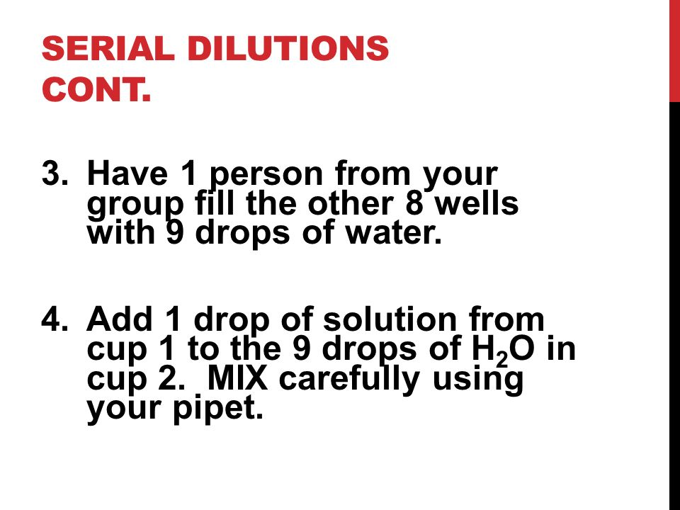 Serial Dilutions cont. Have 1 person from your group fill the other 8 wells with 9 drops of water.