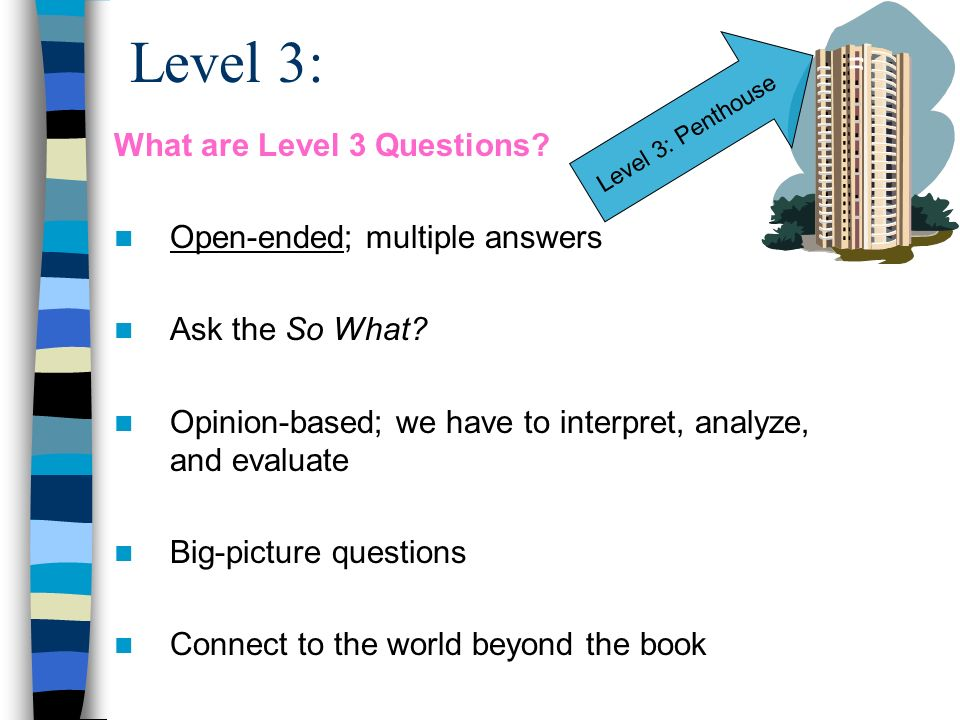 Level 3: What are Level 3 Questions Open-ended; multiple answers