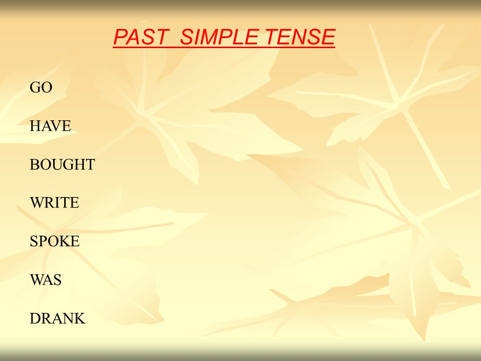 PAST SIMPLE TENSE GO HAVE BOUGHT WRITE SPOKE WAS DRANK