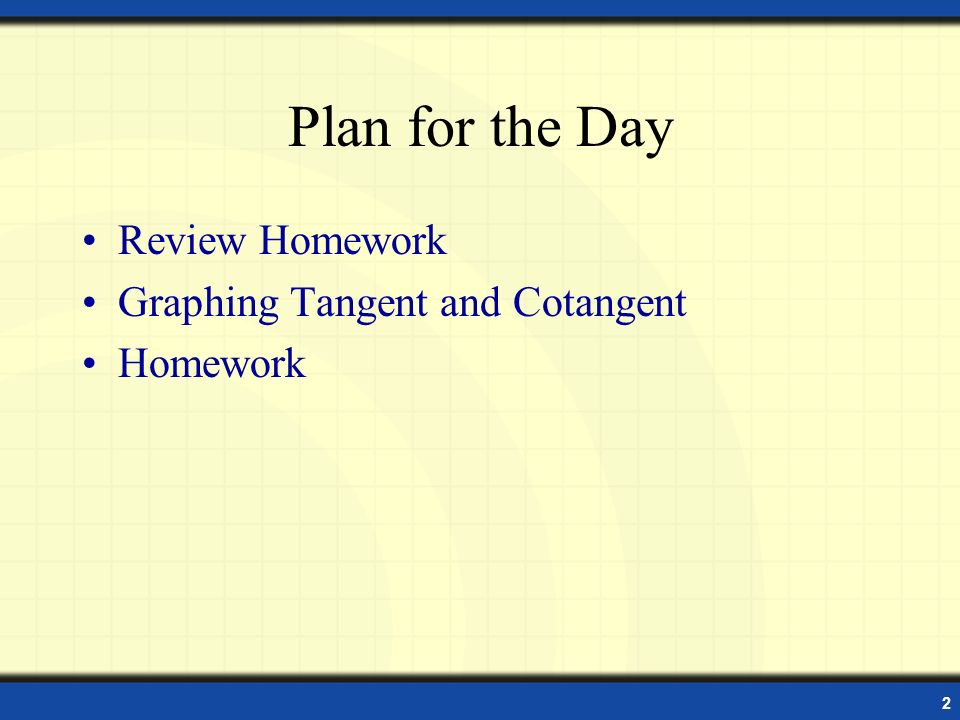 Plan for the Day Review Homework Graphing Tangent and Cotangent