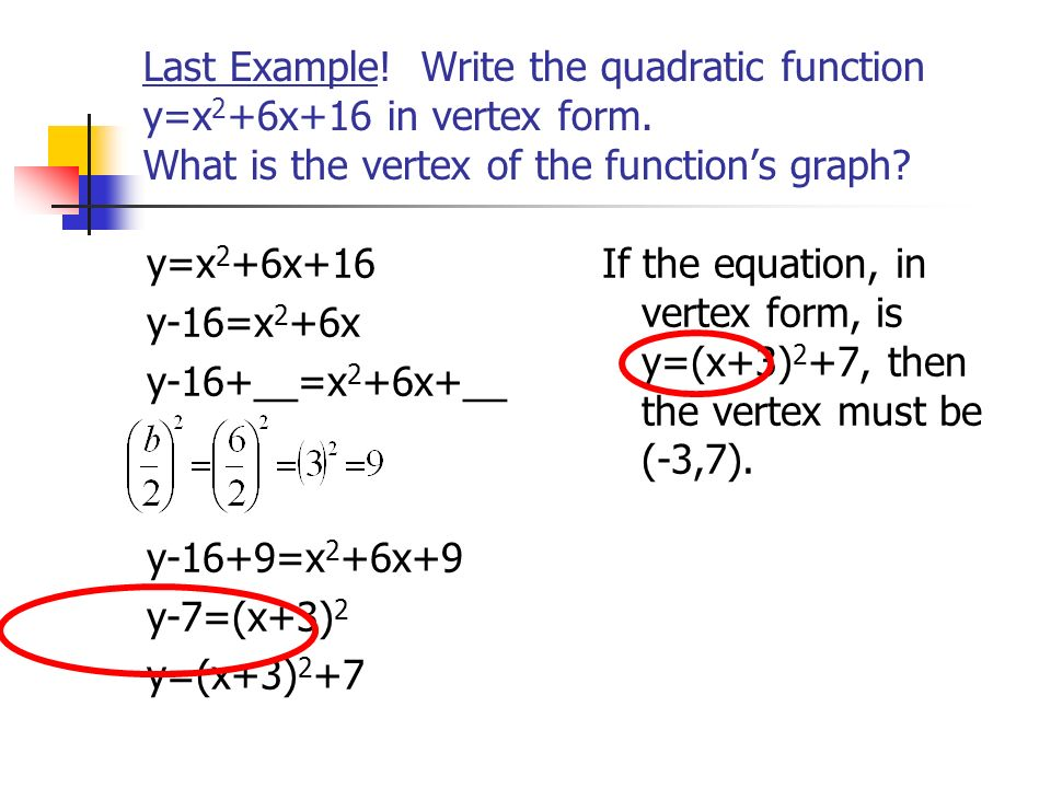 Last Example. Write the quadratic function y=x2+6x+16 in vertex form