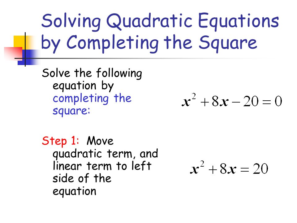 Solving Quadratic Equations By Completing The Square Ppt Video