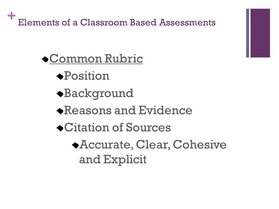 Elements of a Classroom Based Assessments