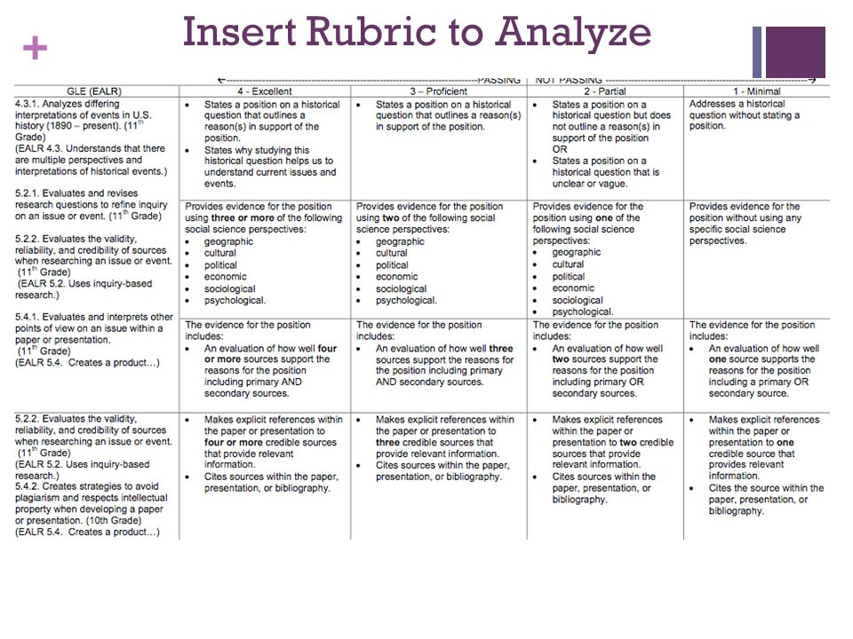 Insert Rubric to Analyze