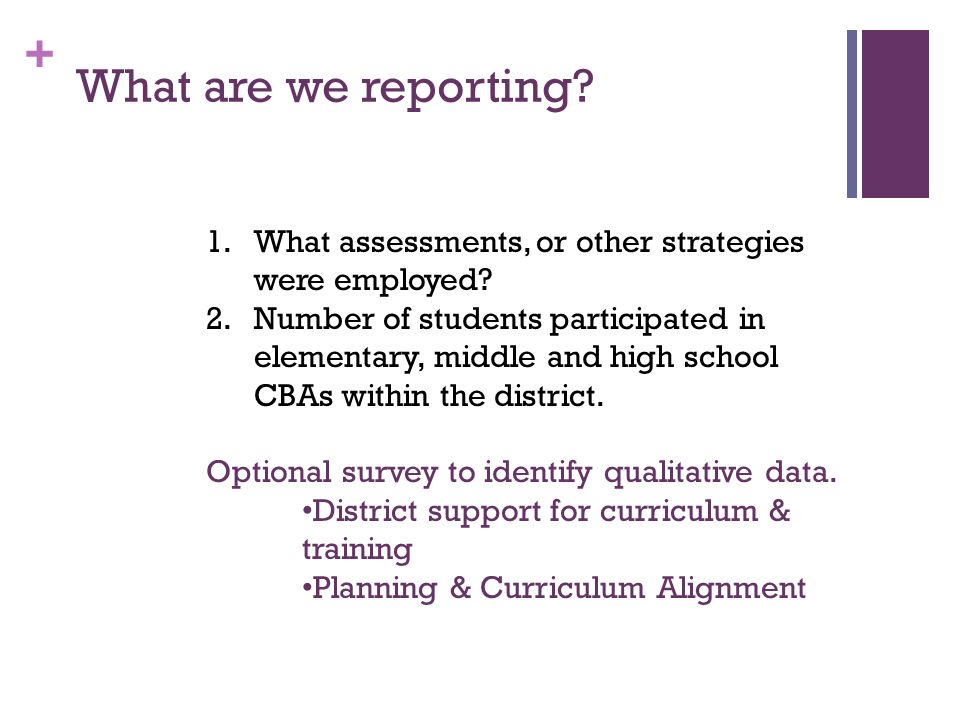 What are we reporting What assessments, or other strategies were employed