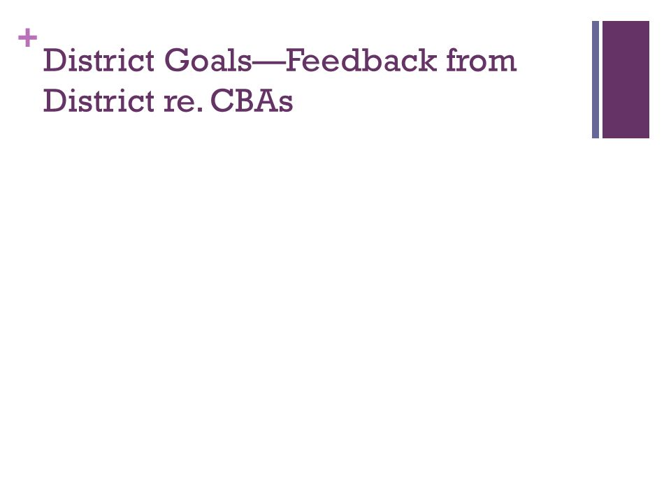 District Goals—Feedback from District re. CBAs