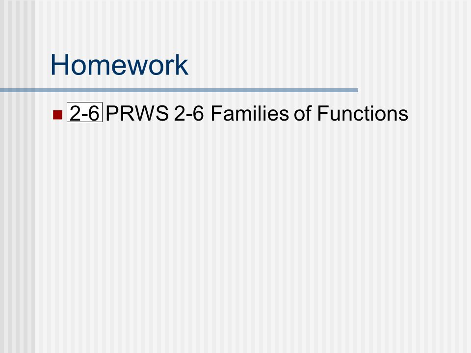 Homework 2-6 PRWS 2-6 Families of Functions