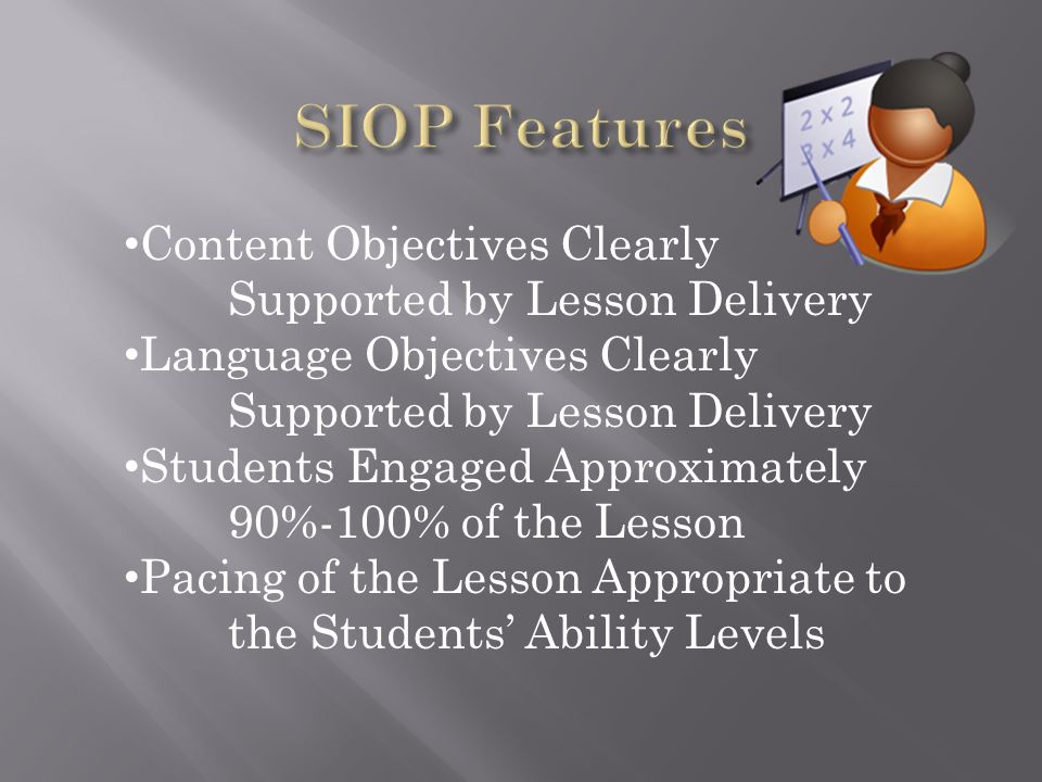 SIOP Features Content Objectives Clearly Supported by Lesson Delivery