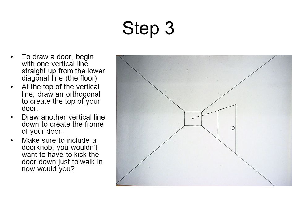 Step 3 To draw a door, begin with one vertical line straight up from the lower diagonal line (the floor)