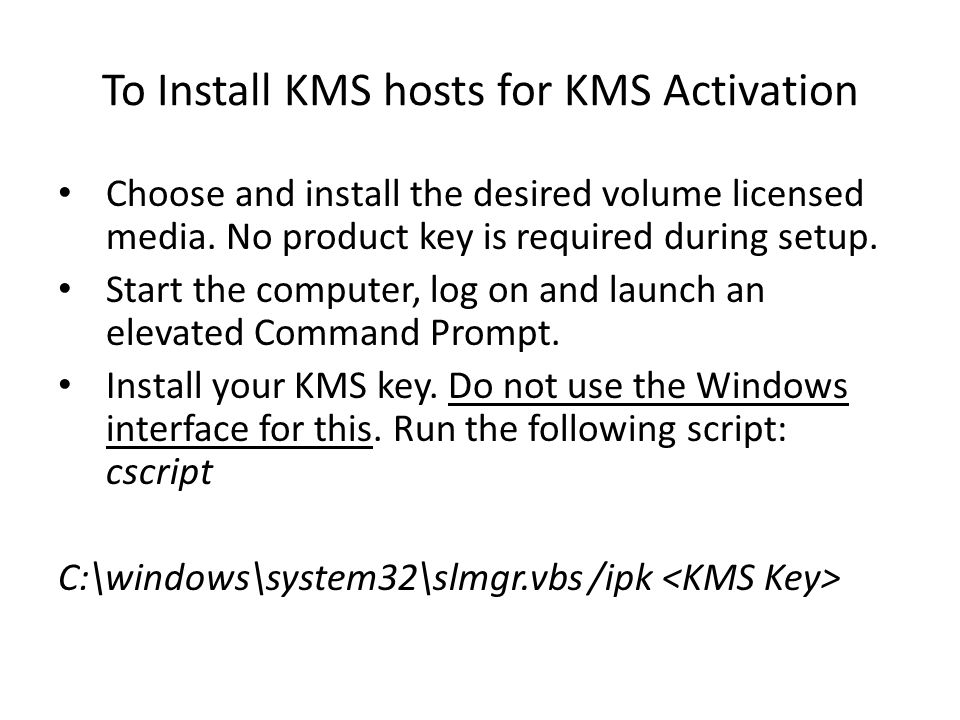 To Install KMS hosts for KMS Activation