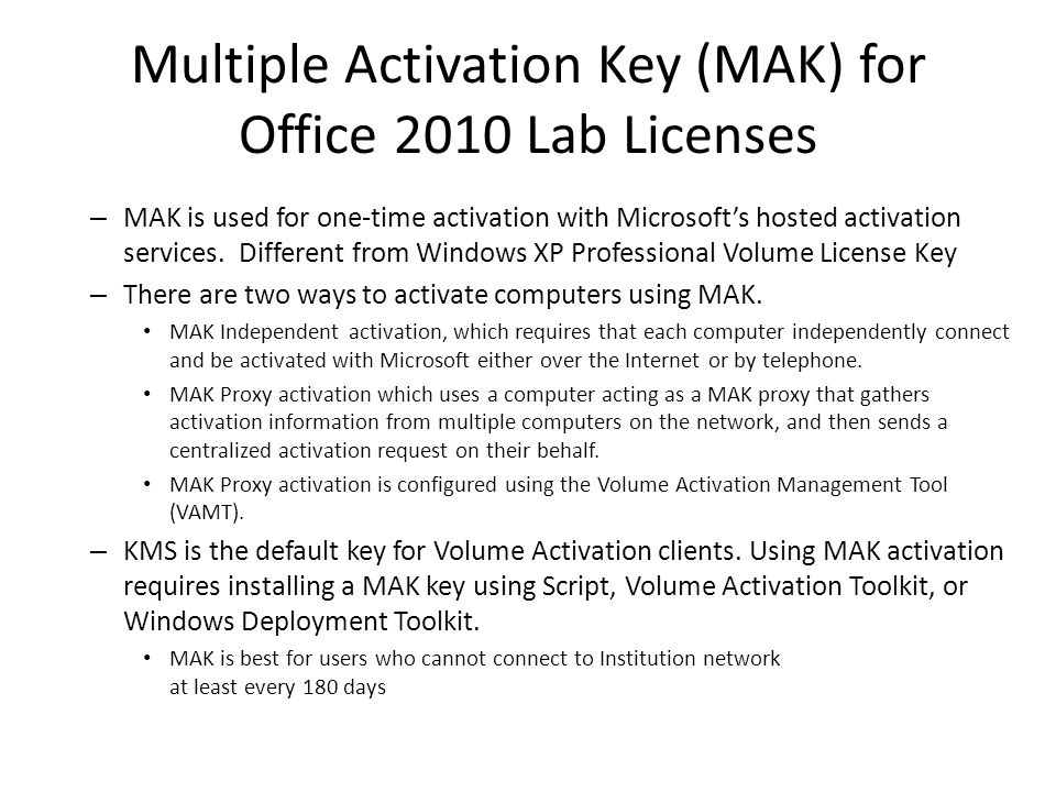 Multiple Activation Key (MAK) for Office 2010 Lab Licenses