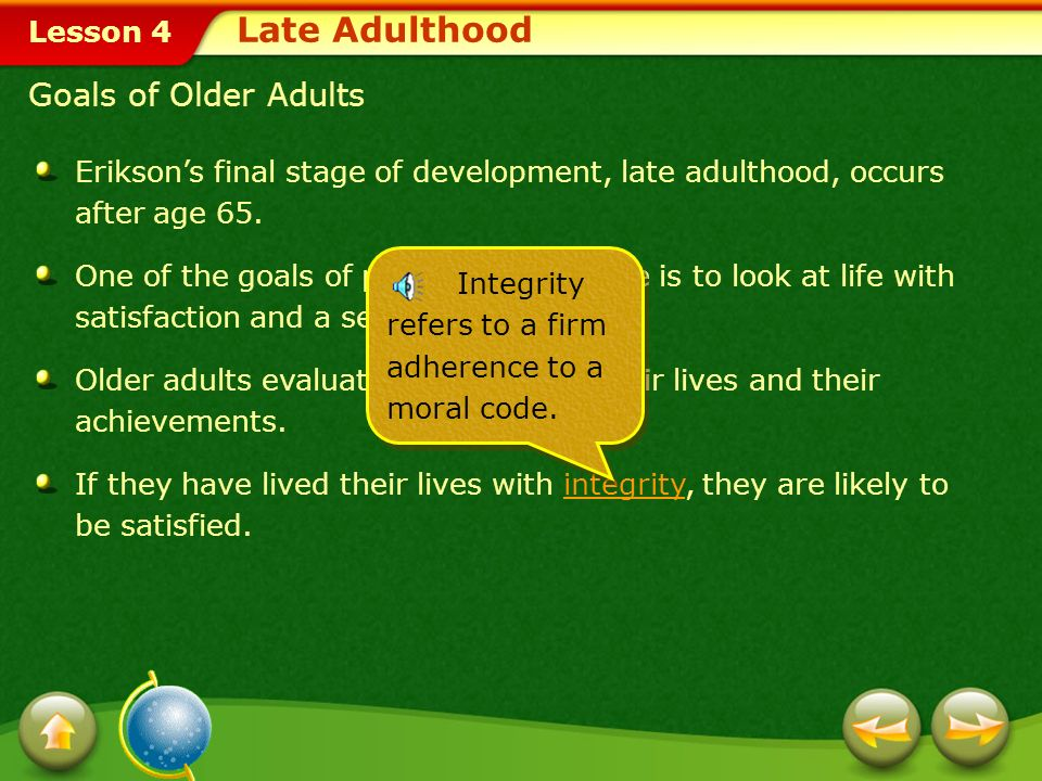 Late Adulthood Goals of Older Adults