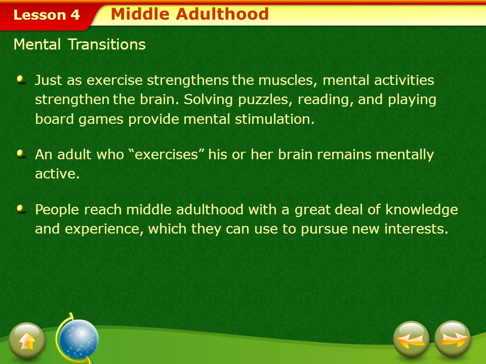 Middle Adulthood Mental Transitions