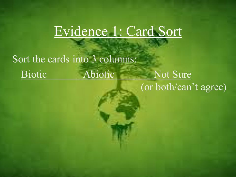 Evidence 1: Card Sort Sort the cards into 3 columns:
