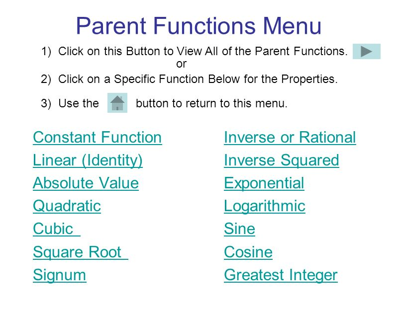 Parent Functions Menu Constant Function Inverse or Rational