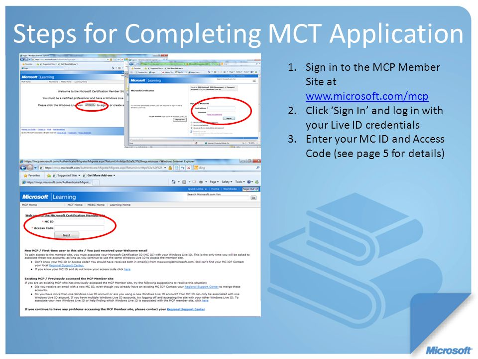 Steps for Completing MCT Application