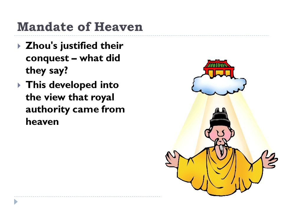 Mandate of Heaven Zhou s justified their conquest – what did they say