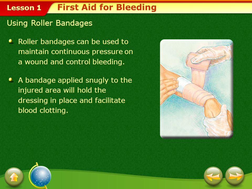 First Aid for Bleeding Using Roller Bandages
