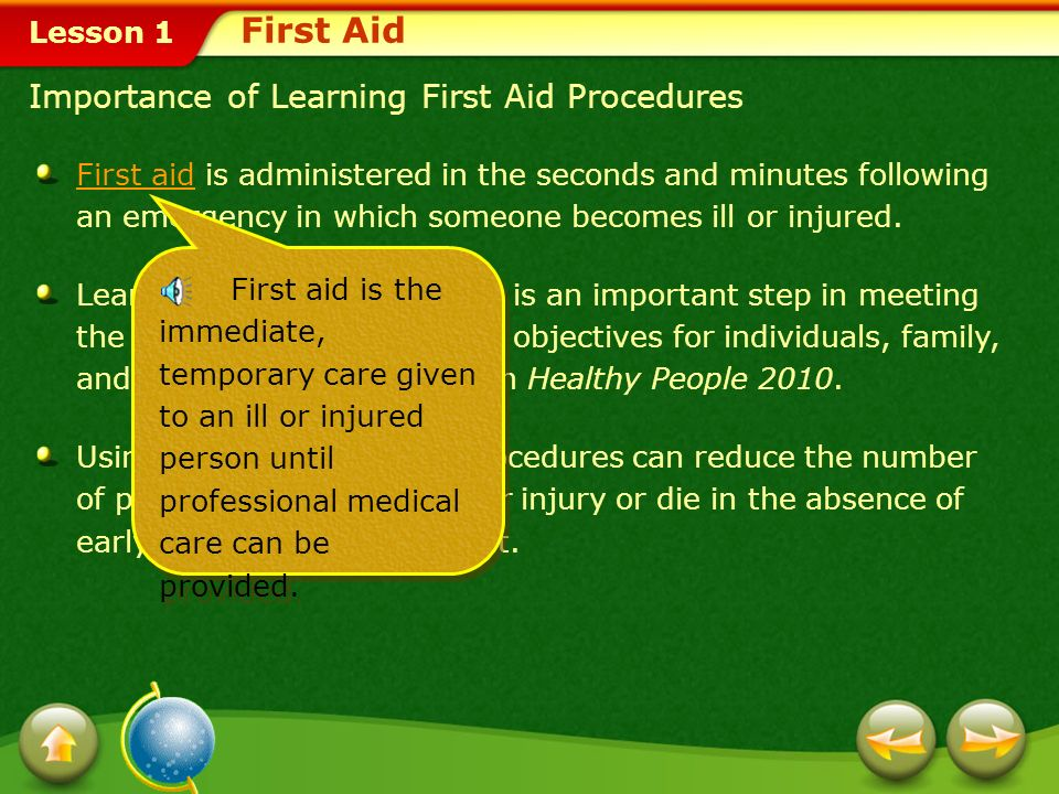 First Aid Importance of Learning First Aid Procedures