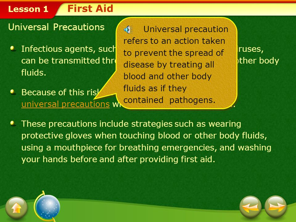 First Aid Universal Precautions